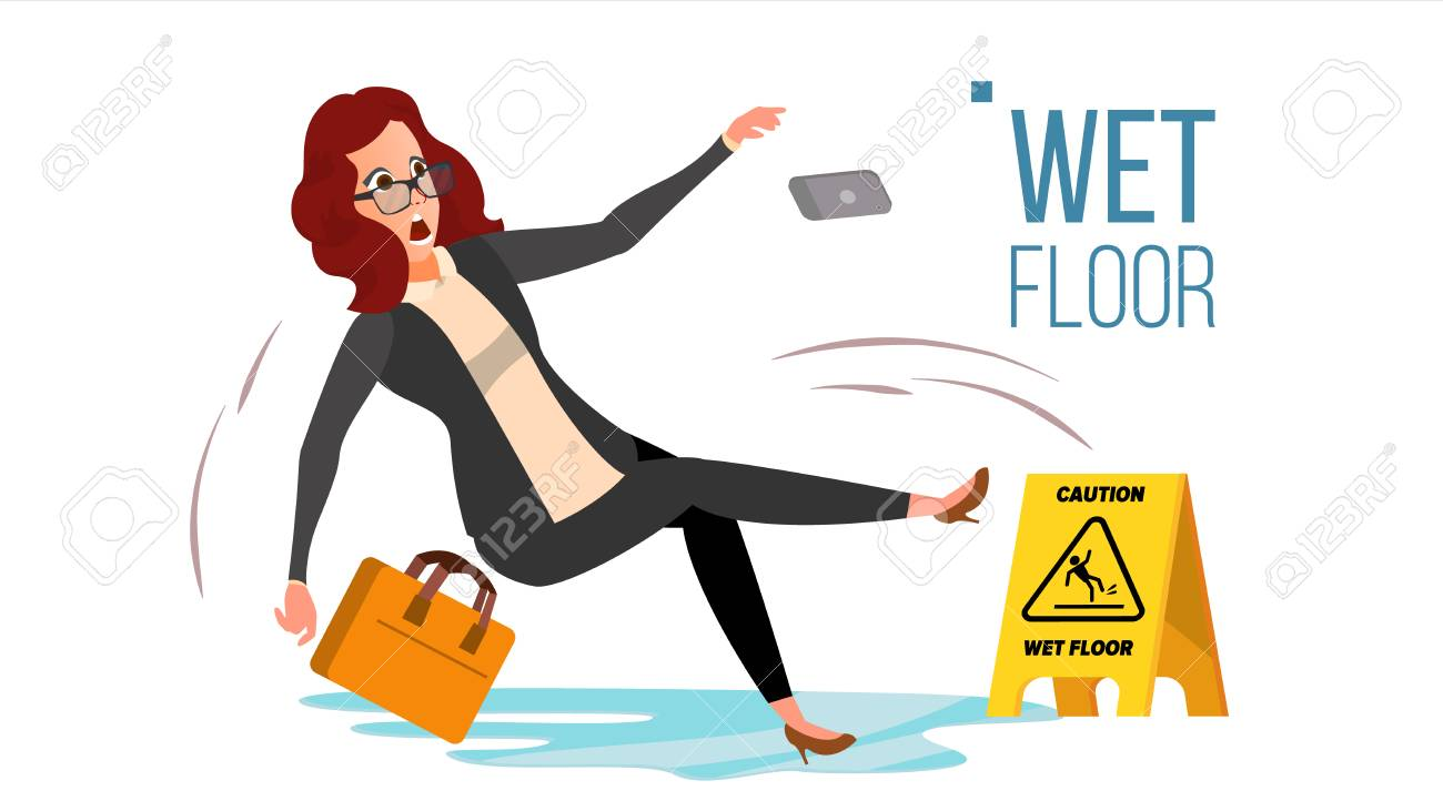 Woman Slips On Wet Floor Vector. Caution Sign. Isolated Flat Cartoon Character Illustration - 95002050