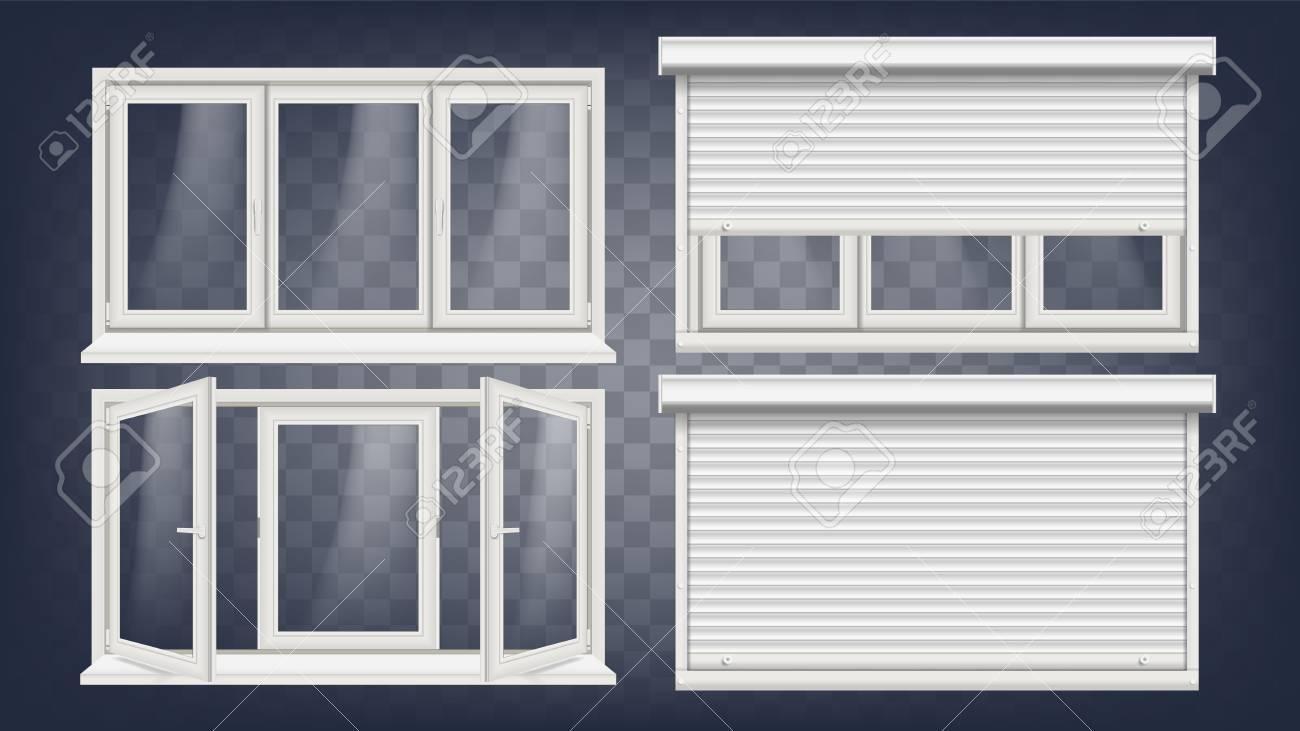 Plastic PVC Windows Set Vector, Different Types. Roller Blind ...
