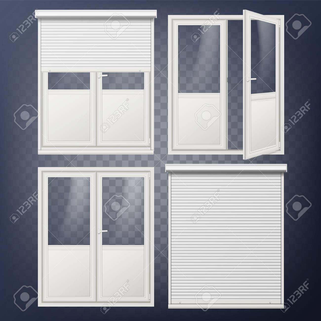 Plastic Glass Door Vector In White Roller Shutter Stock 96235436
