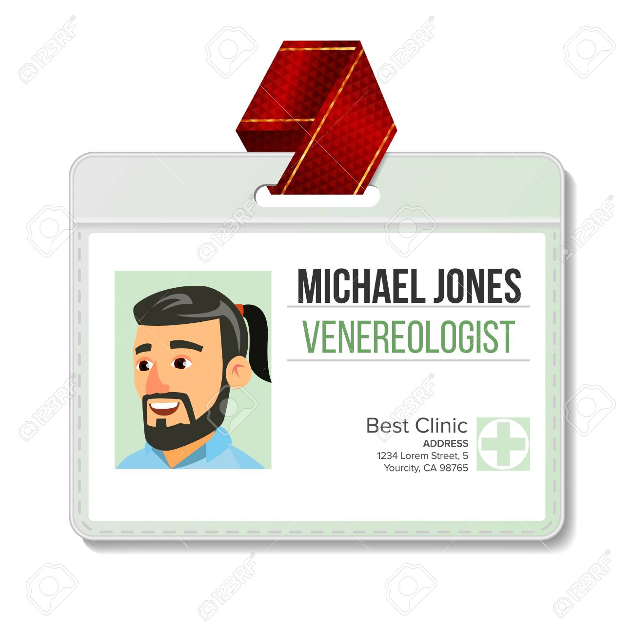 Venereologist Identification Badge Vector Man Id Card Template