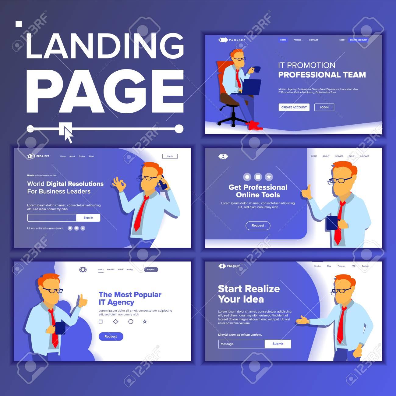 landing set main web page design vector website business concept