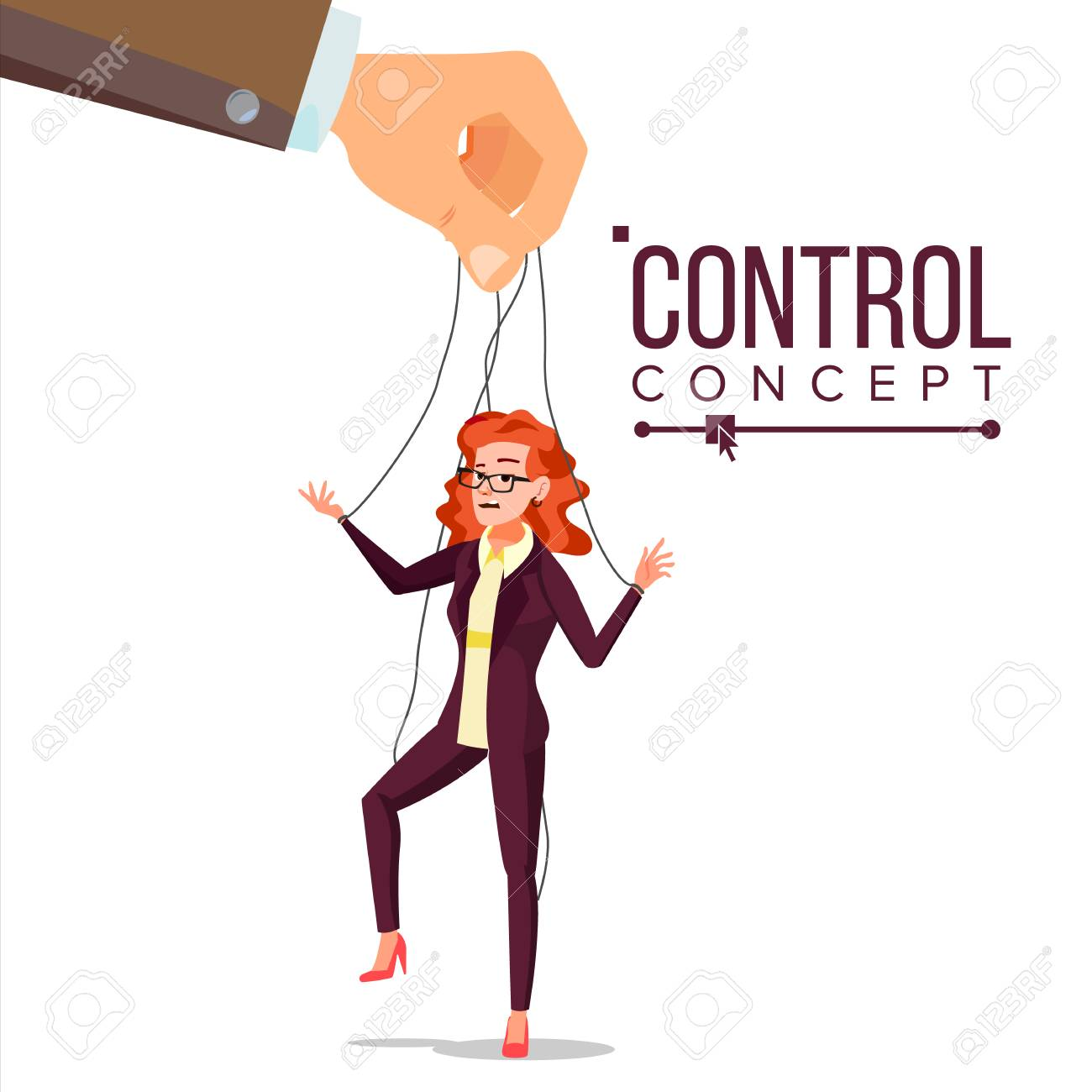 Manipulation Business Woman Vector. Marionette Concept. Worker On Ropes. Dishonestly Under The Influence Of Boss. Unfair. Cartoon Illustration - 115046012