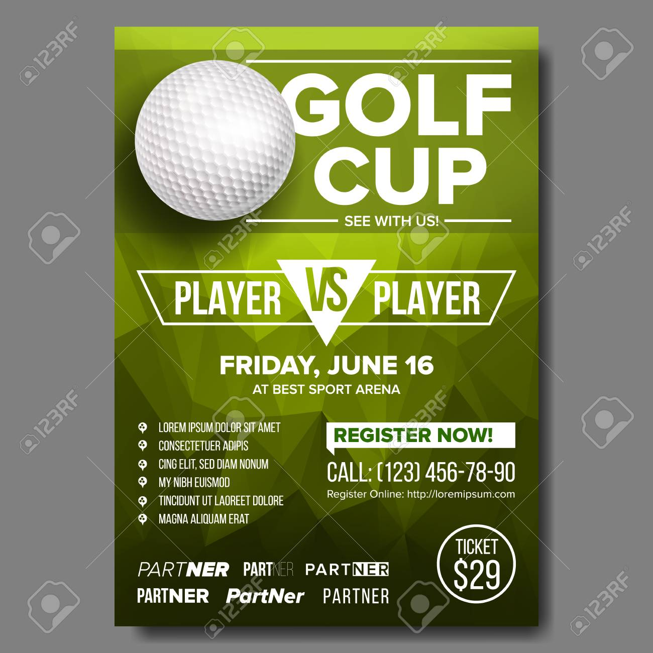 Golf Poster Vector Design For Sport Bar Promotion Golf Ball Royalty Free Cliparts Vectors And Stock Illustration Image 114957220