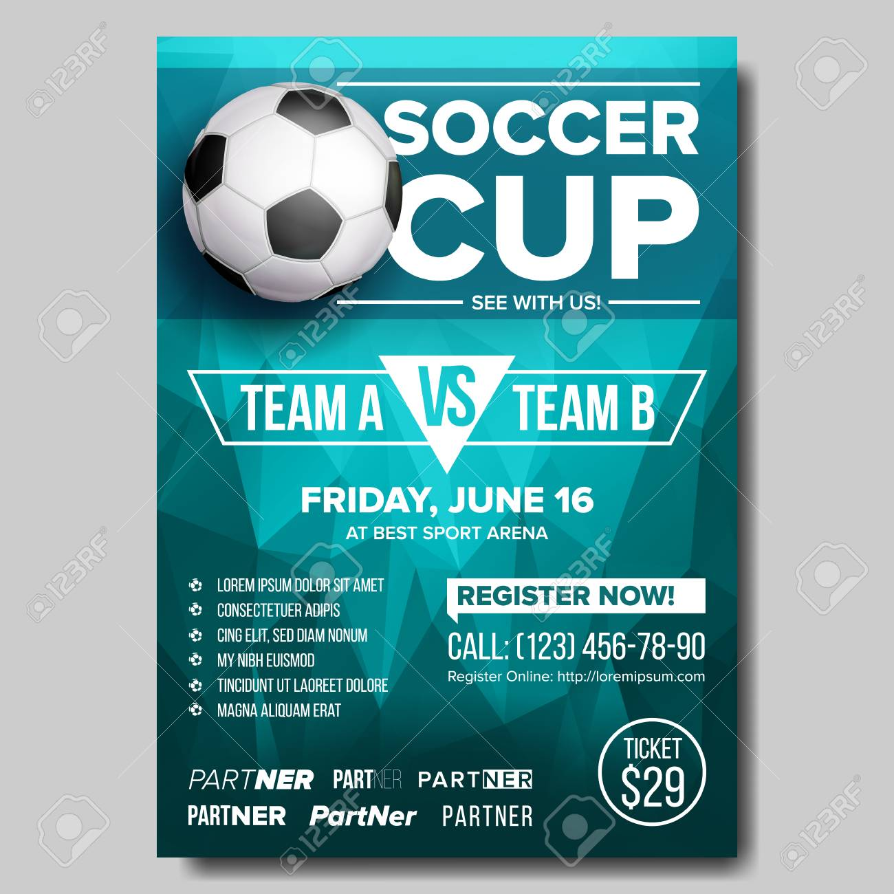 Soccer Game Poster Vector Modern Soccer Tournament Design For Stock Photo Picture And Royalty Free Image Image 104812846