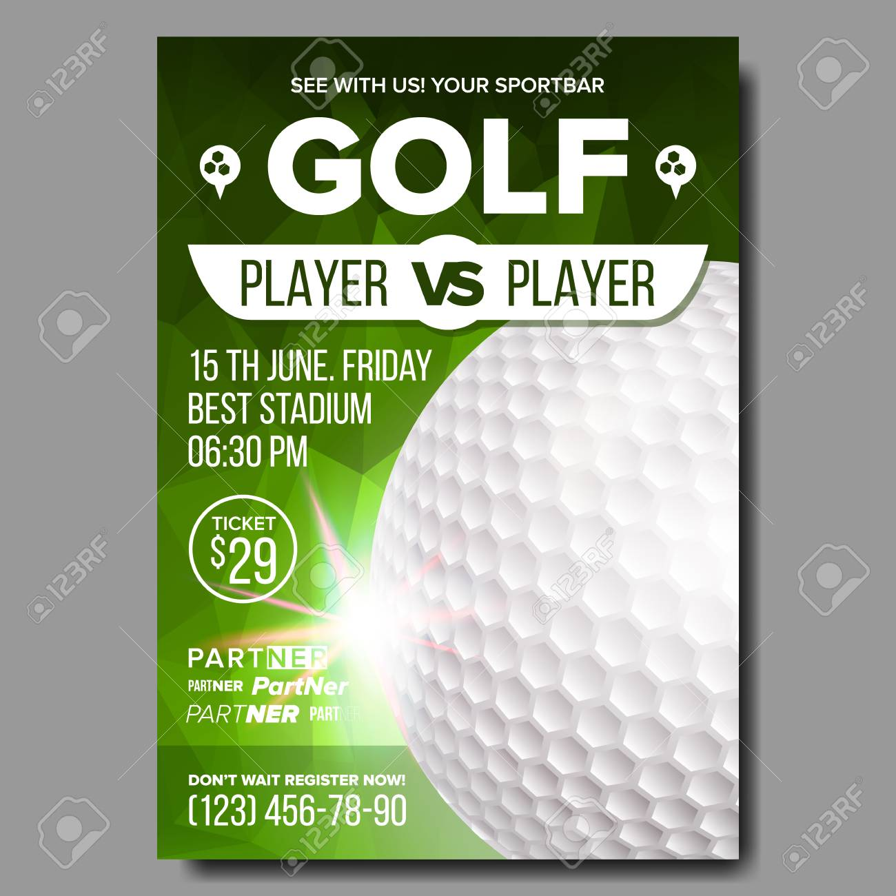 Golf Poster Vector Banner Advertising Sport Event Announcement Stock Photo Picture And Royalty Free Image Image 104812878