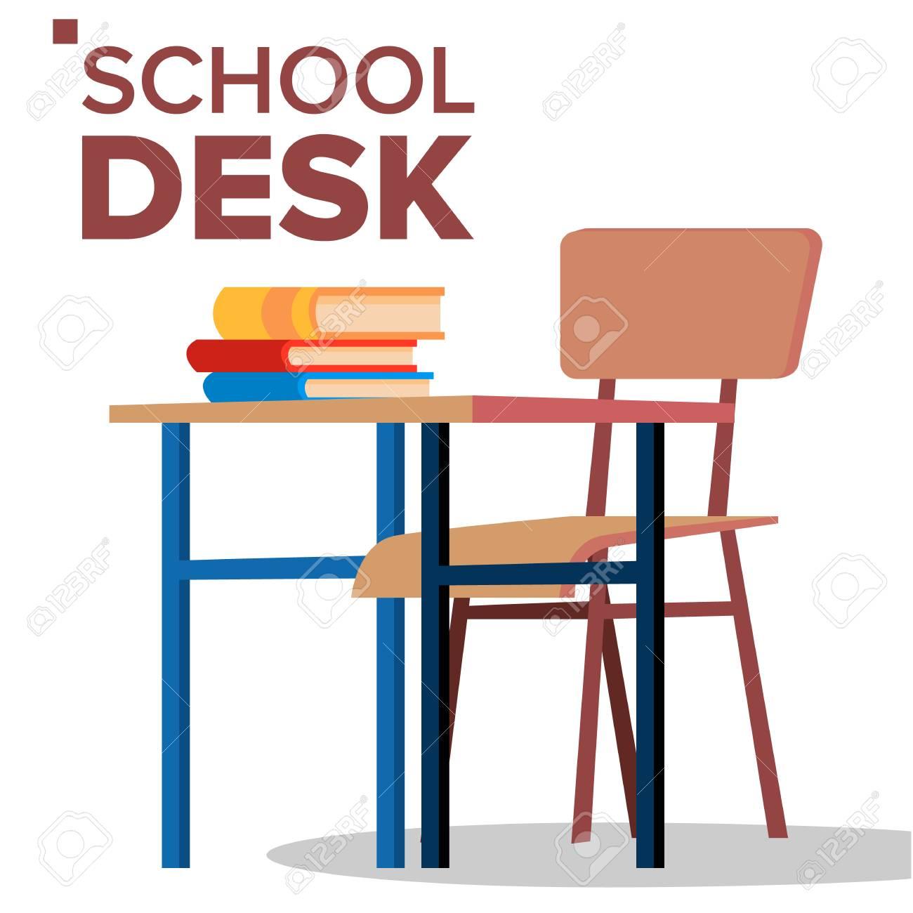 School Desk Chair Vector Classic Empty Wooden School Furniture