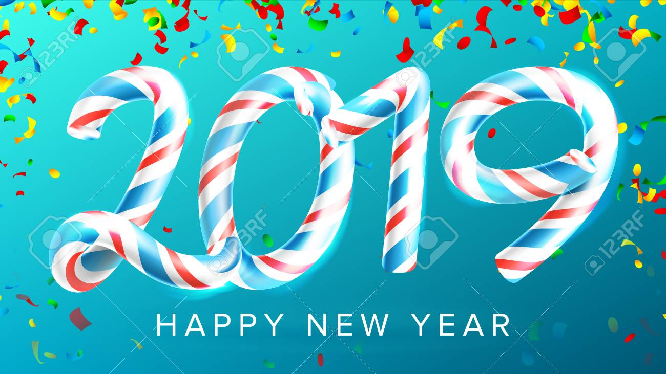 2019 happy new year background vector numbers 2019 christmas colours blue classic