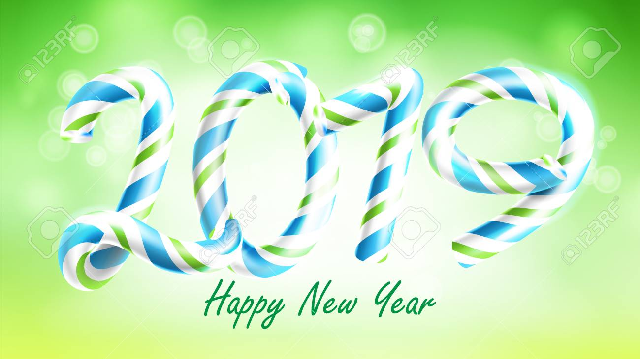2019 happy new year background vector numbers 2019 christmas colours green classic