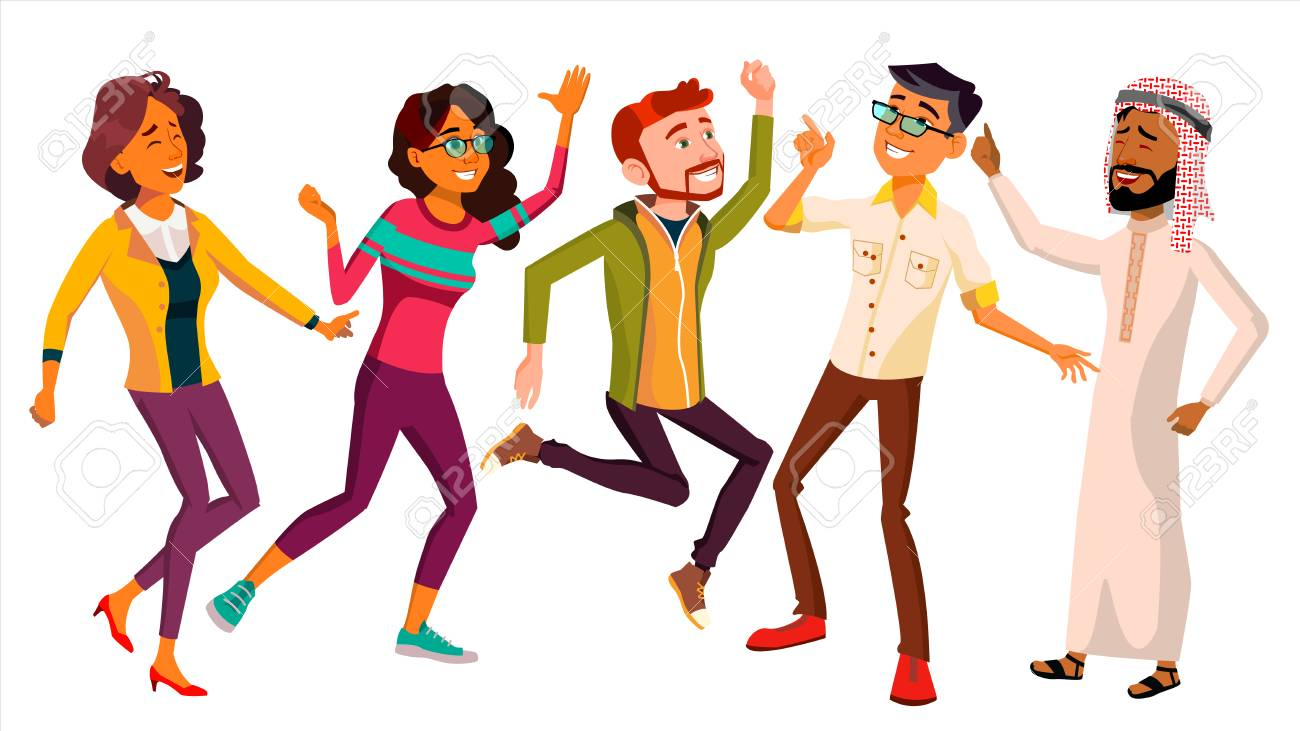 Dancing People Set Vector. Active Woman, Man. Important Event. Isolated Flat Cartoon Illustration - 106376724
