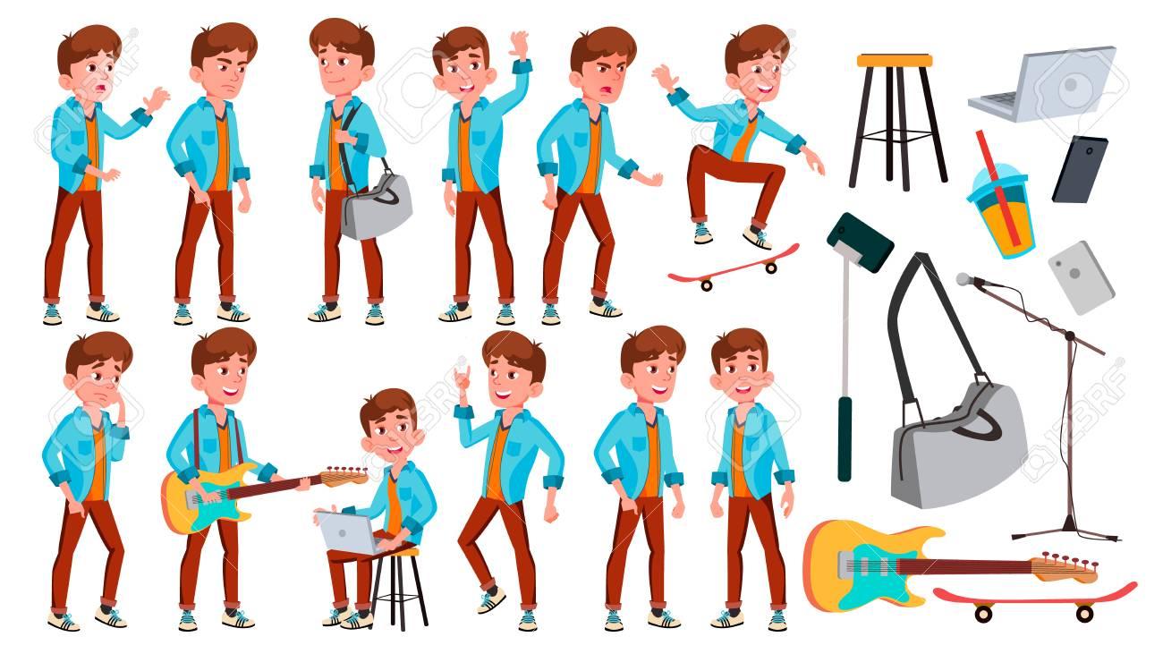 Teen Boy Poses Set Vector. Face. Children. For Web, Brochure, Poster Design. Isolated Cartoon Illustration - 111886161