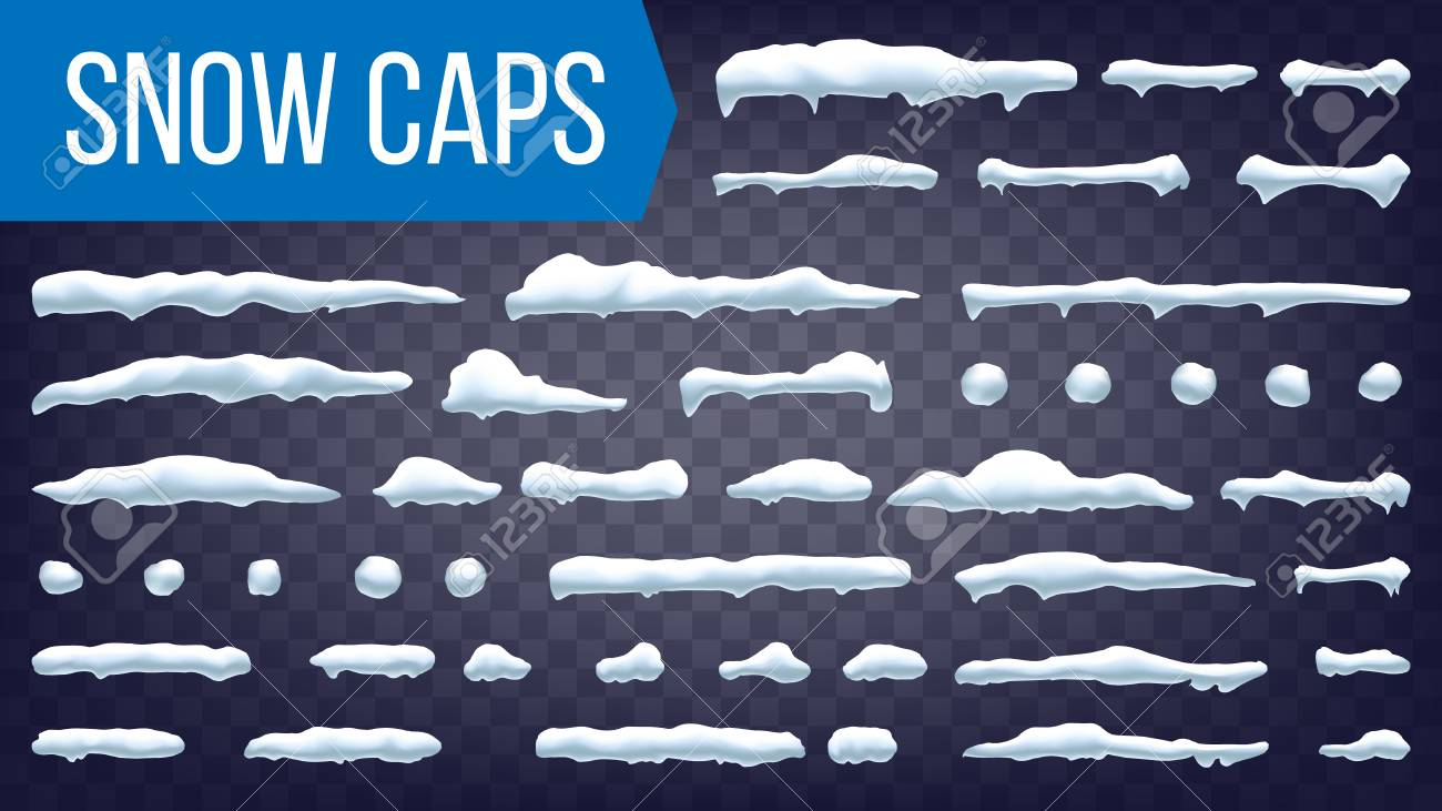 Snow Caps Vector. Snowball And Snowdrift Winter Decoration. Frozen Effect Isolated Illustration - 110170787