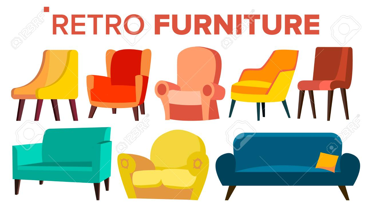 Retro Furniture Vector Vintage 1950s 1960s Armchair Sofa Mid