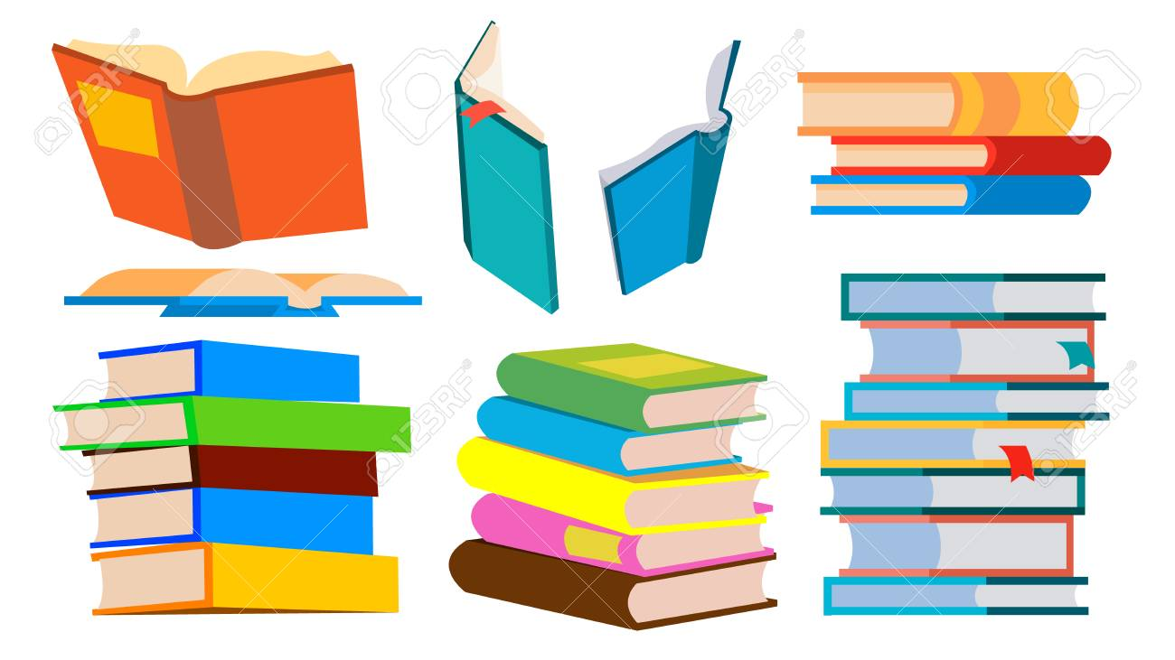 Stack Of Books Vector. Pile. Different Angles, Height. Learning, Reading Concept Cartoon Illustration - 110113190