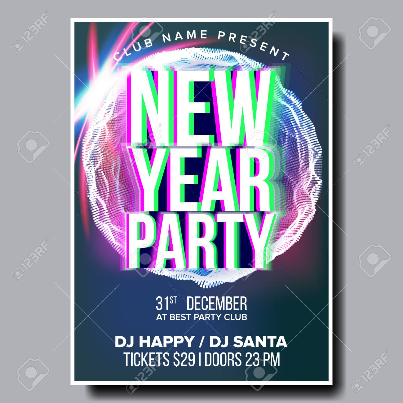 2019 party flyer poster vector happy new year celebration template winter background