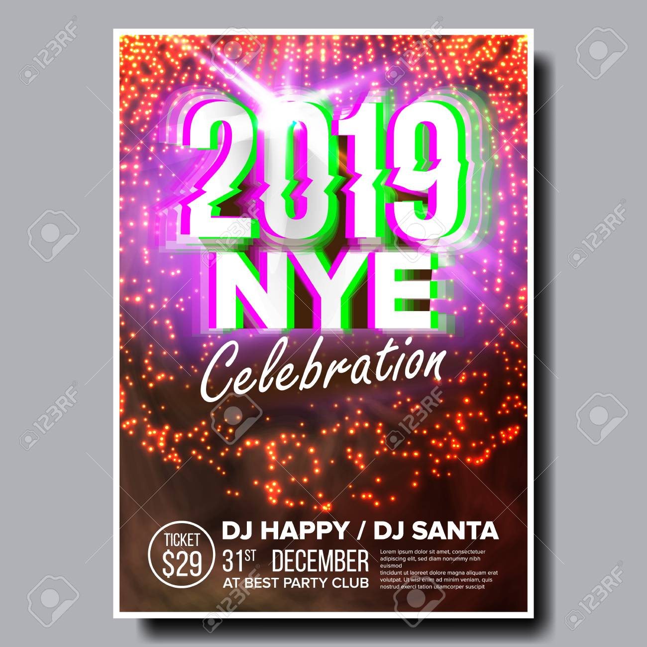 happy new year holiday invitation christmas disco light