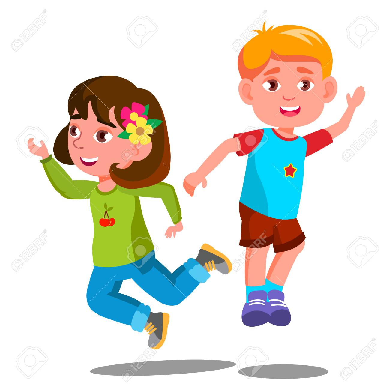 Group Of Happy Children Are Jumping Together Vector. Illustration - 126552779