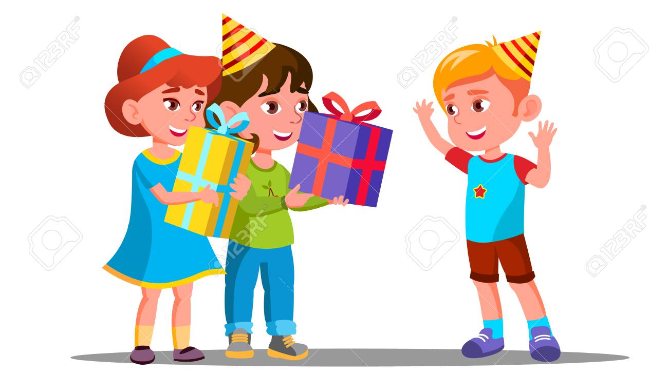 Children Give Birthday Gifts To A Friend Vector Illustration Stock