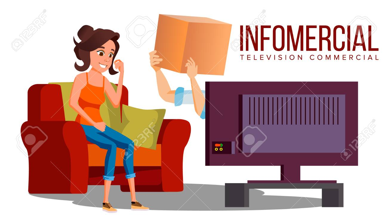 Infomercial, Shop On The Sofa, Woman Sitting On The Sofa In Front