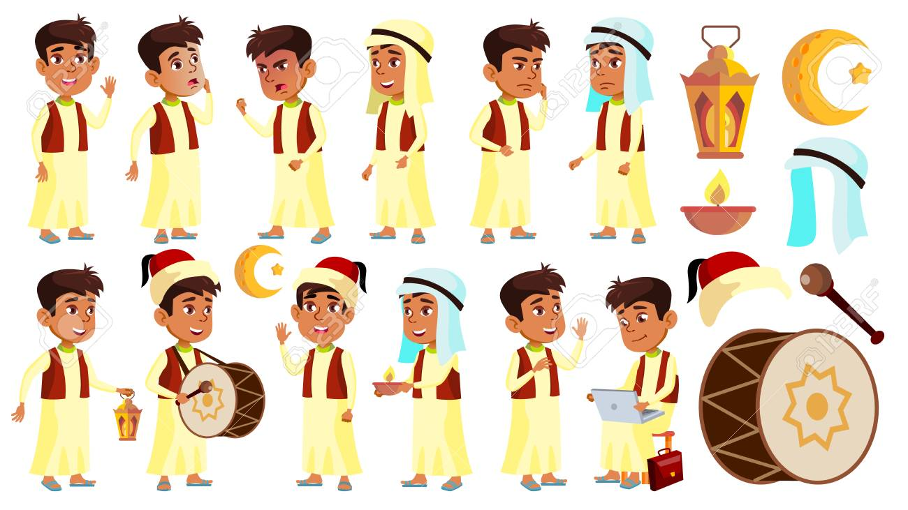 Arab, Muslim Boy Schoolboy Kid Poses Set Vector. School Child. Celebrating Ramadan Kareem. Life, Emotional. For Banner, Flyer, Web Design. Isolated Illustration - 113691966