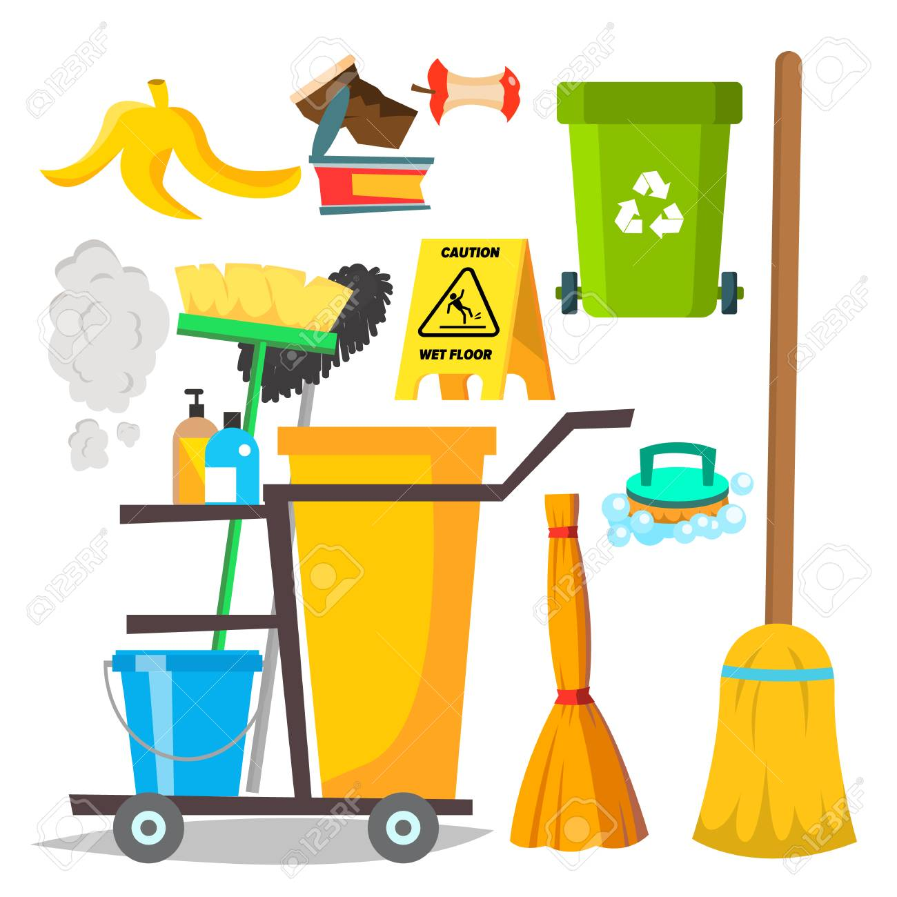Cleaning Items Vector. Household Supplies Icons. Equipment. Isolated Flat Cartoon Illustration - 126553461