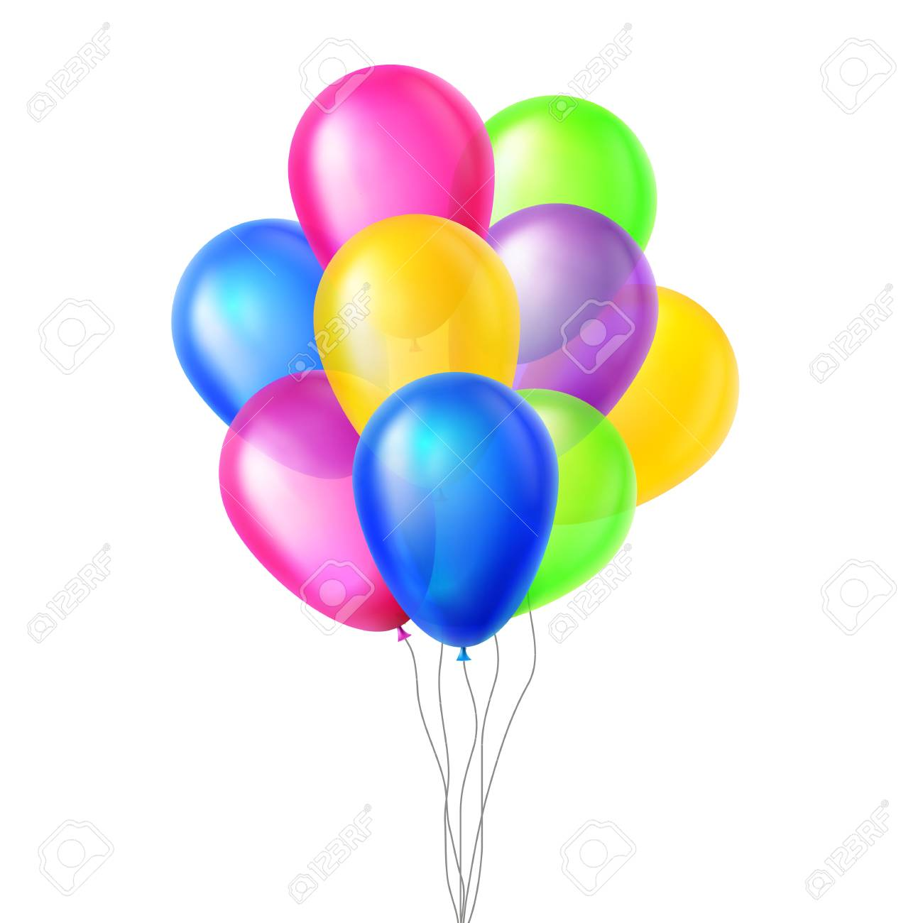 Balloons Vector. In Air. Big Surprise. Group Bunch. Flying. Birthday, Holiday Event Elements Decoration Illustration - 124711382