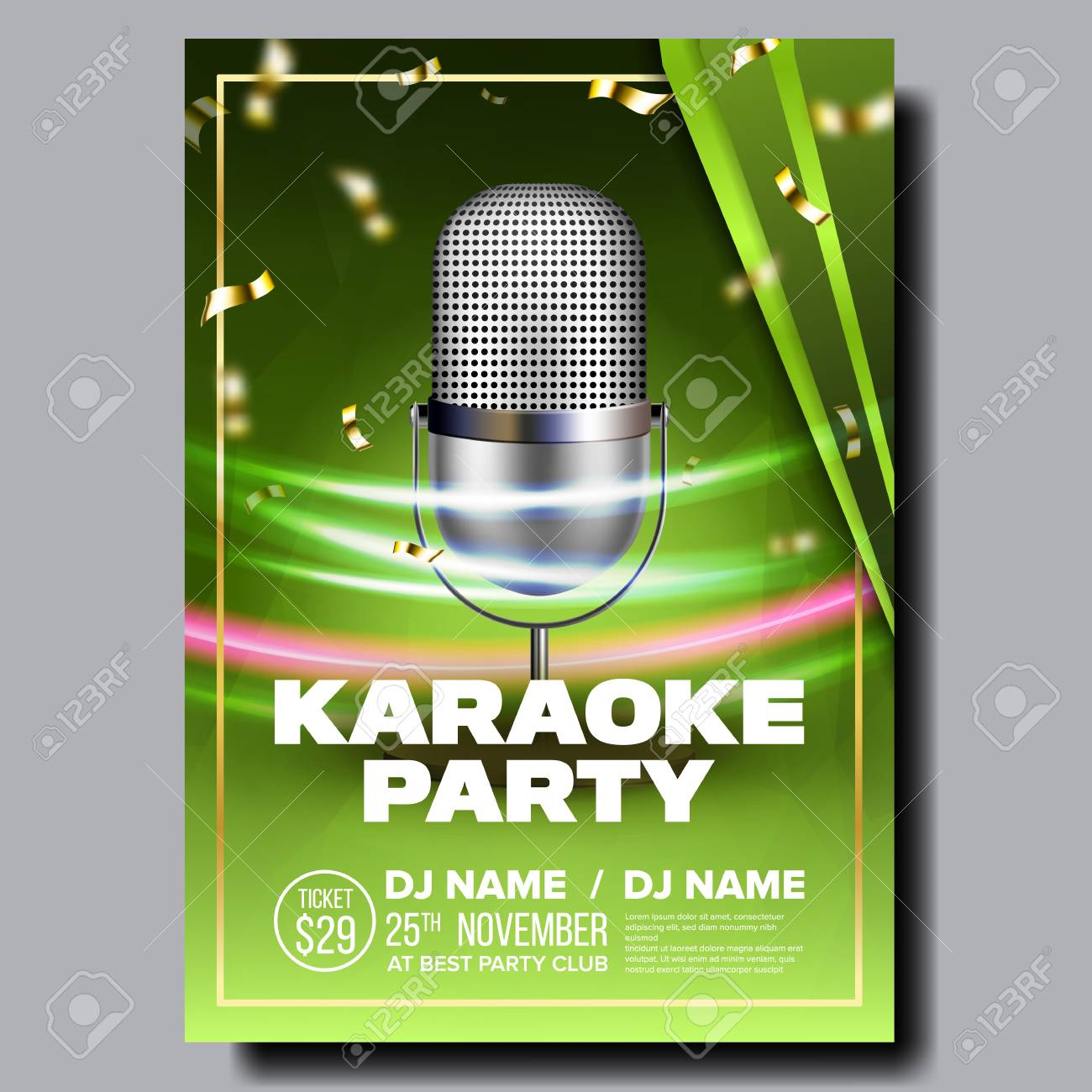 Karaoke Poster Vector  Sing Song  Karaoke Dance Event  Vintage