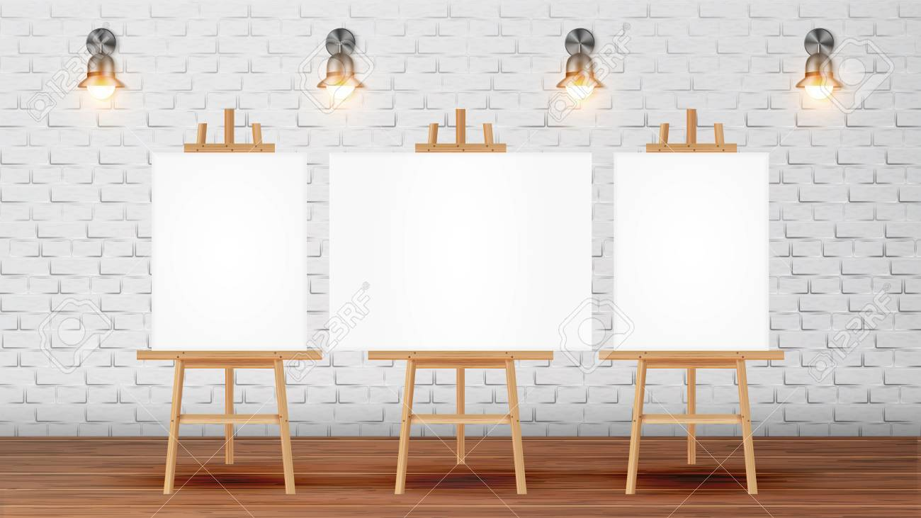Classroom For Painter Course With Equipment Vector. Classroom For Creativity Lessons Decorated Blank Canvas Desks For Pictures On Tripod, Lighting Sconces On Brick Wall. Realistic 3d Illustration - 126553638