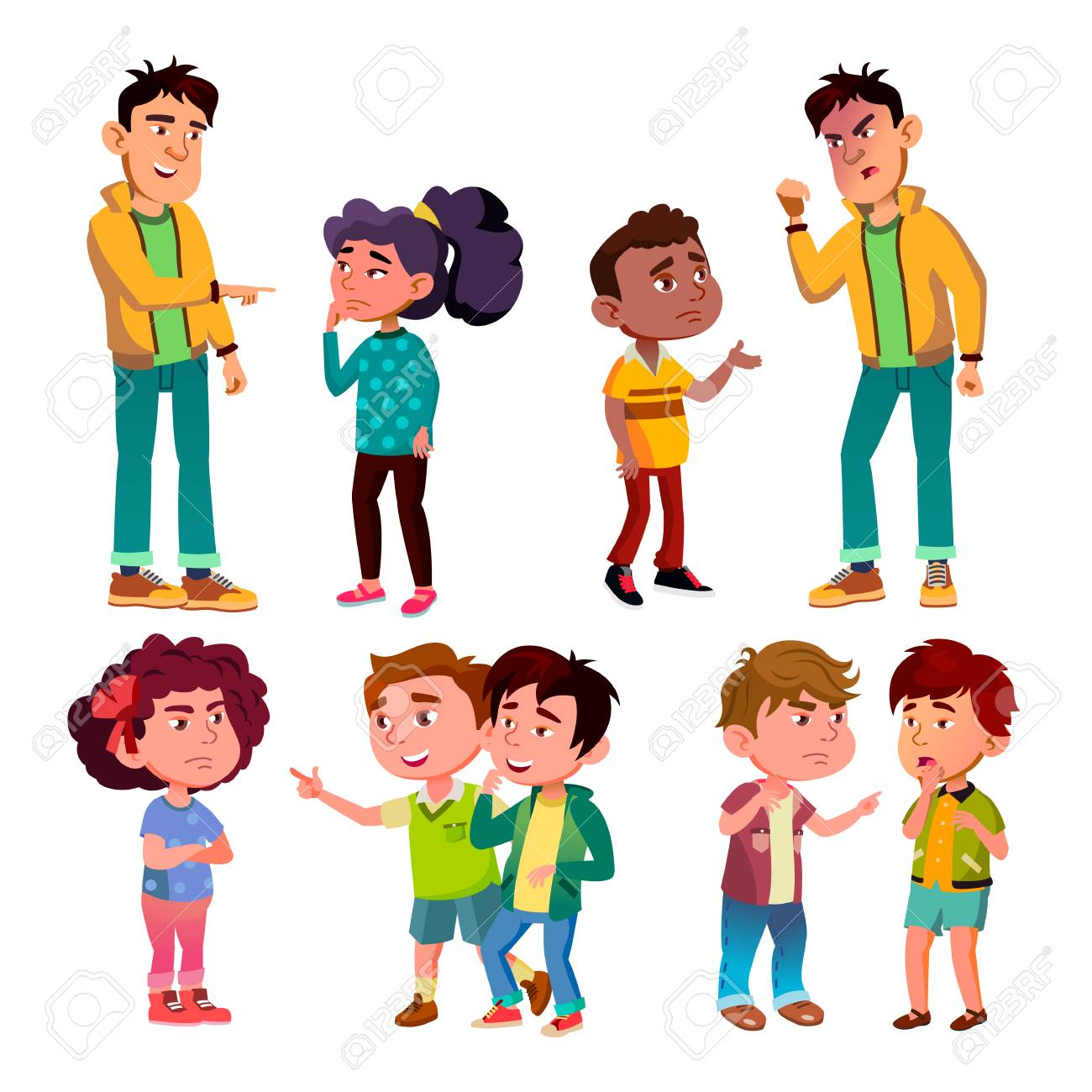 Sad And Angry Victim Character Boy And Girl Vector. Teenager Boy Laughing And Swear On Victim Kids, Children Trolling Abusive Classmate. Social Bullying Concept Flat Cartoon Illustration - 126553650