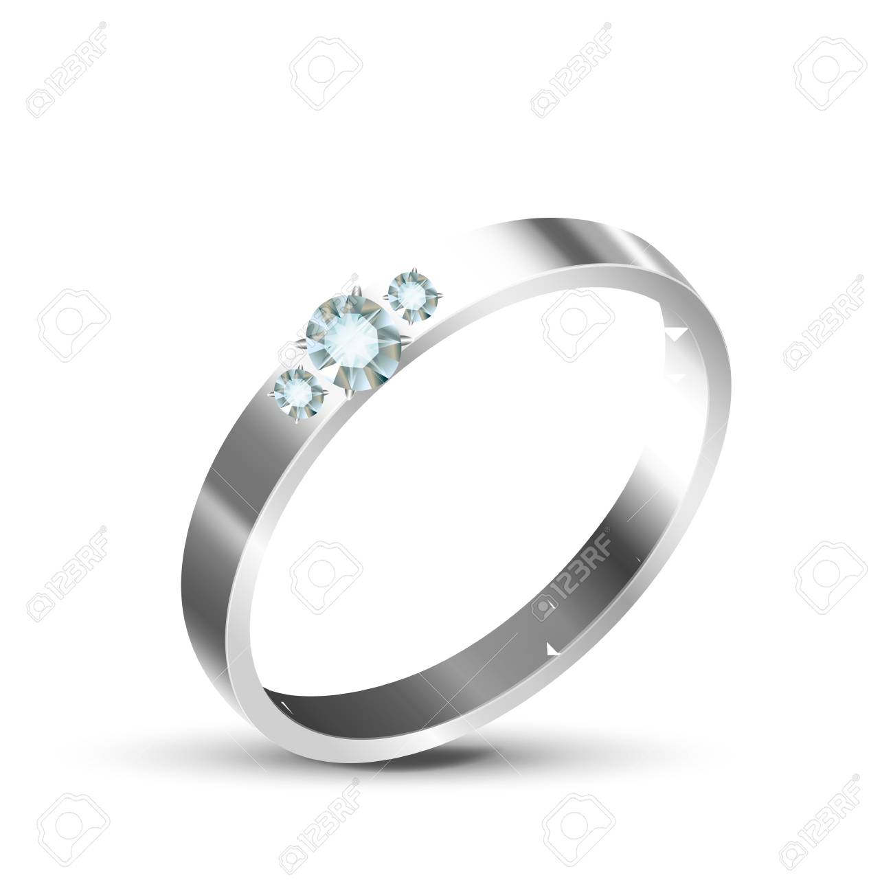 Classic Silver Or White Gold Diamond Ring Vector Bright Beauty
