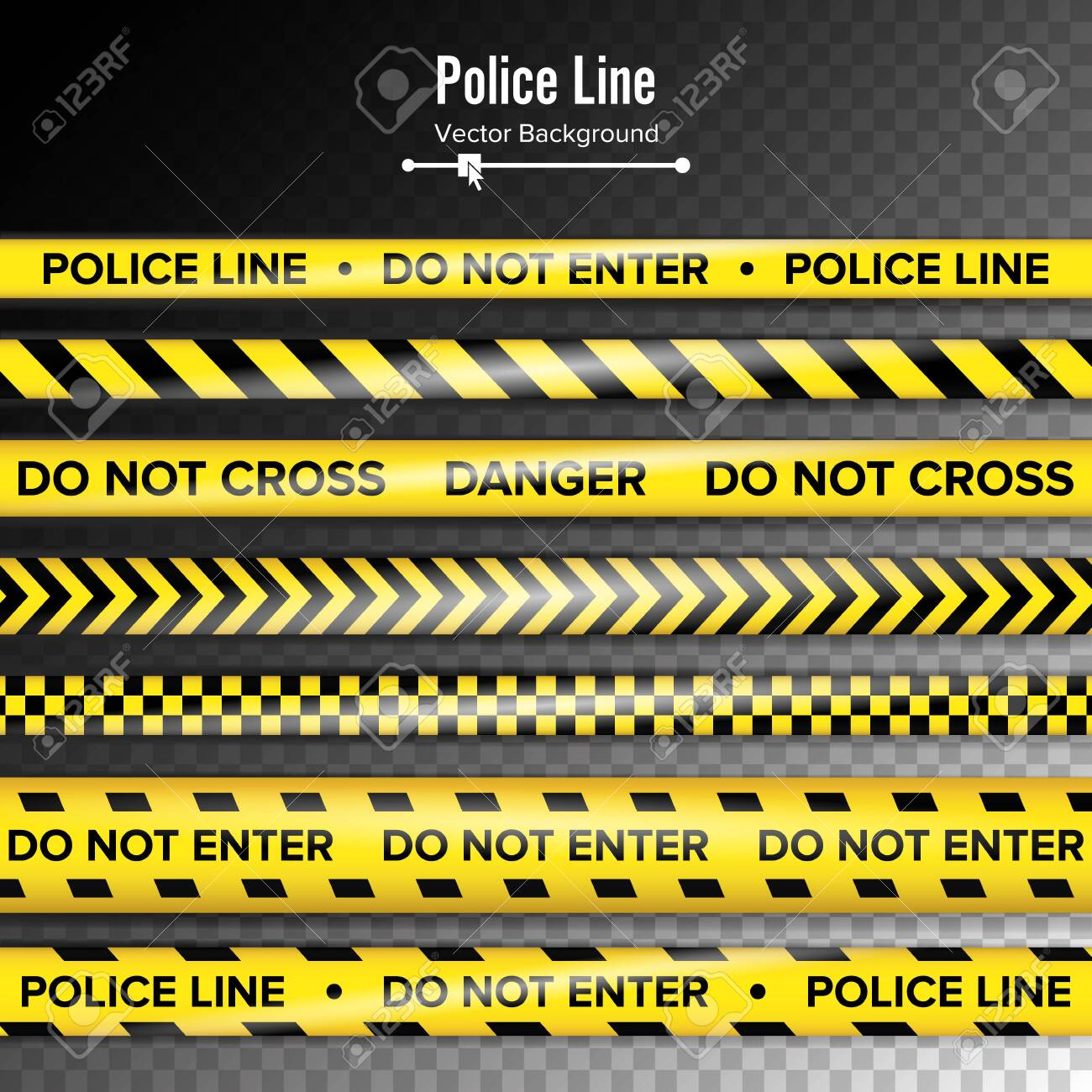 Yellow With Black Police Line. Do Not Enter, Danger. Security Quarantine Tapes. Isolated On Background. - 128543325