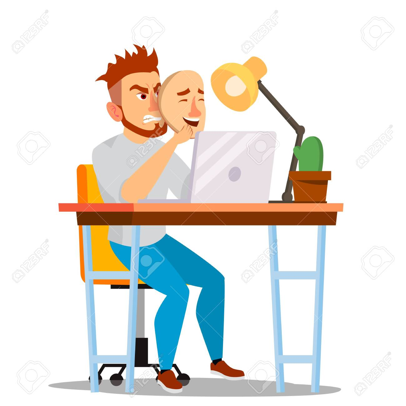 Fake Person . Bad, Tired Man. Deceive Concept. Businessman Wear Smile Mask. Isolated Flat Cartoon Character Illustration - 128884970