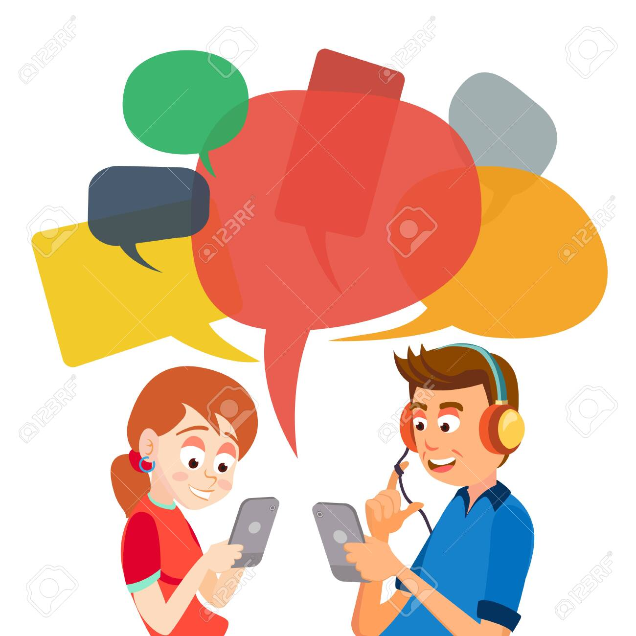 Teen Girl And Boy Messaging . Communicate On Internet. Chatting On Network. Using Smartphone. Chat Bubbles. Social Media Addiction - 128792561