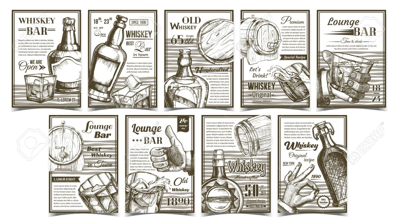 Whiskey Lounge Bar Advertising Posters Set Vector Collection Royalty Free Cliparts Vectors And Stock Illustration Image 136664993