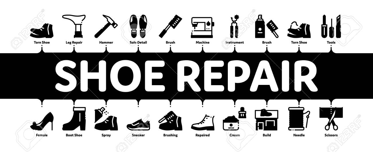 shoe repair equipment minimal infographic web banner vector... royalty free  cliparts, vectors, and stock illustration. image 138267355.  123rf