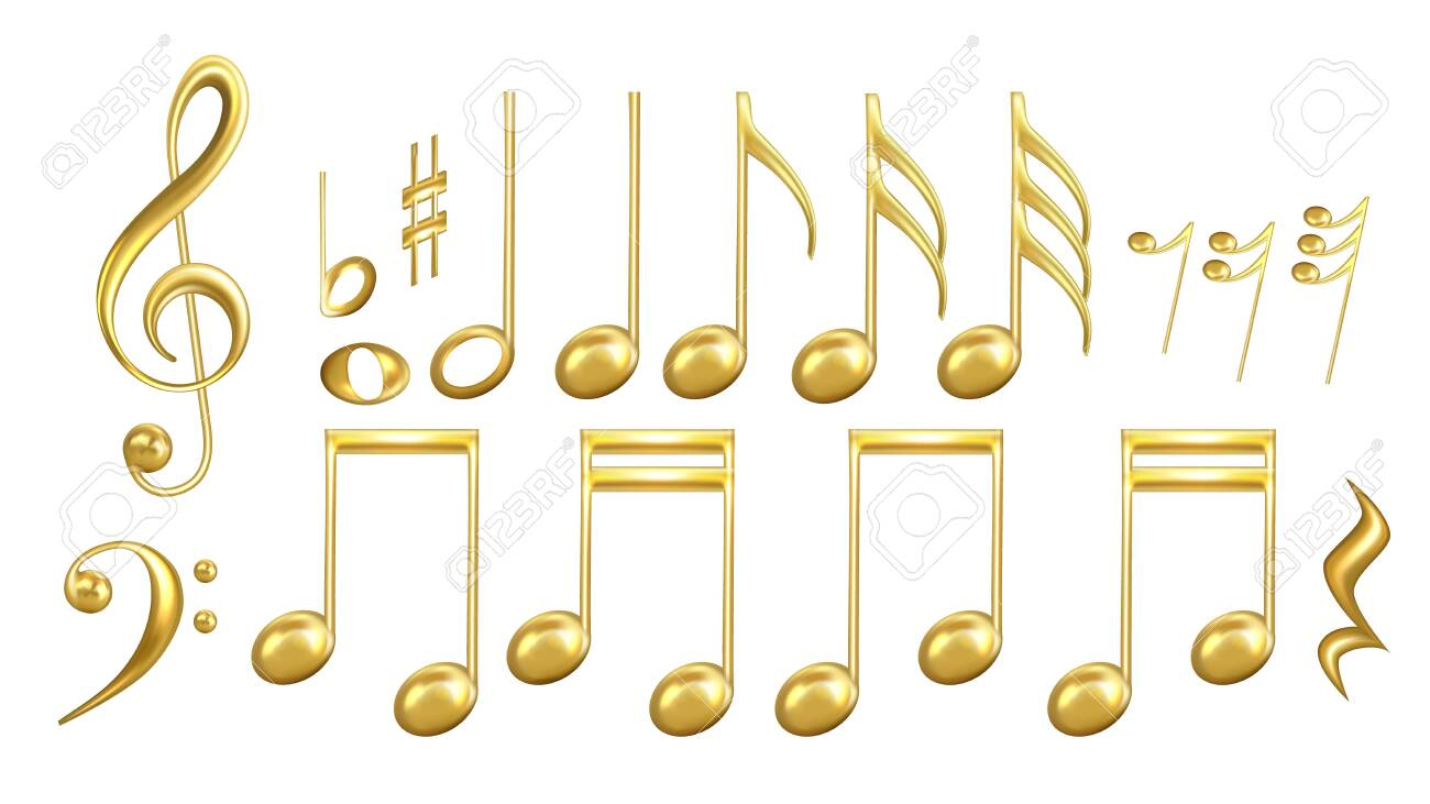 Musical Notes Symbols In Golden Color Set Vector. Collection Of Classic Music Minim And Crotchet, Quaver And Semiquaver, Notes And Treble Clef, Sharp And Minim. Layout 3d Illustrations - 139268691
