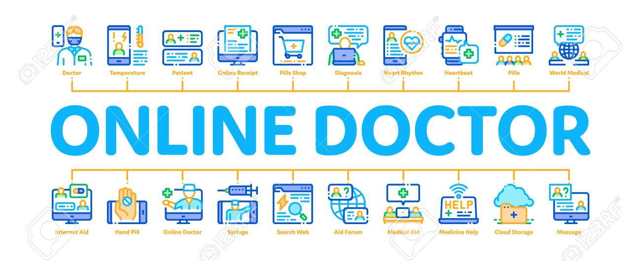 Online Doctor Advice Minimal Infographic Web Banner Vector