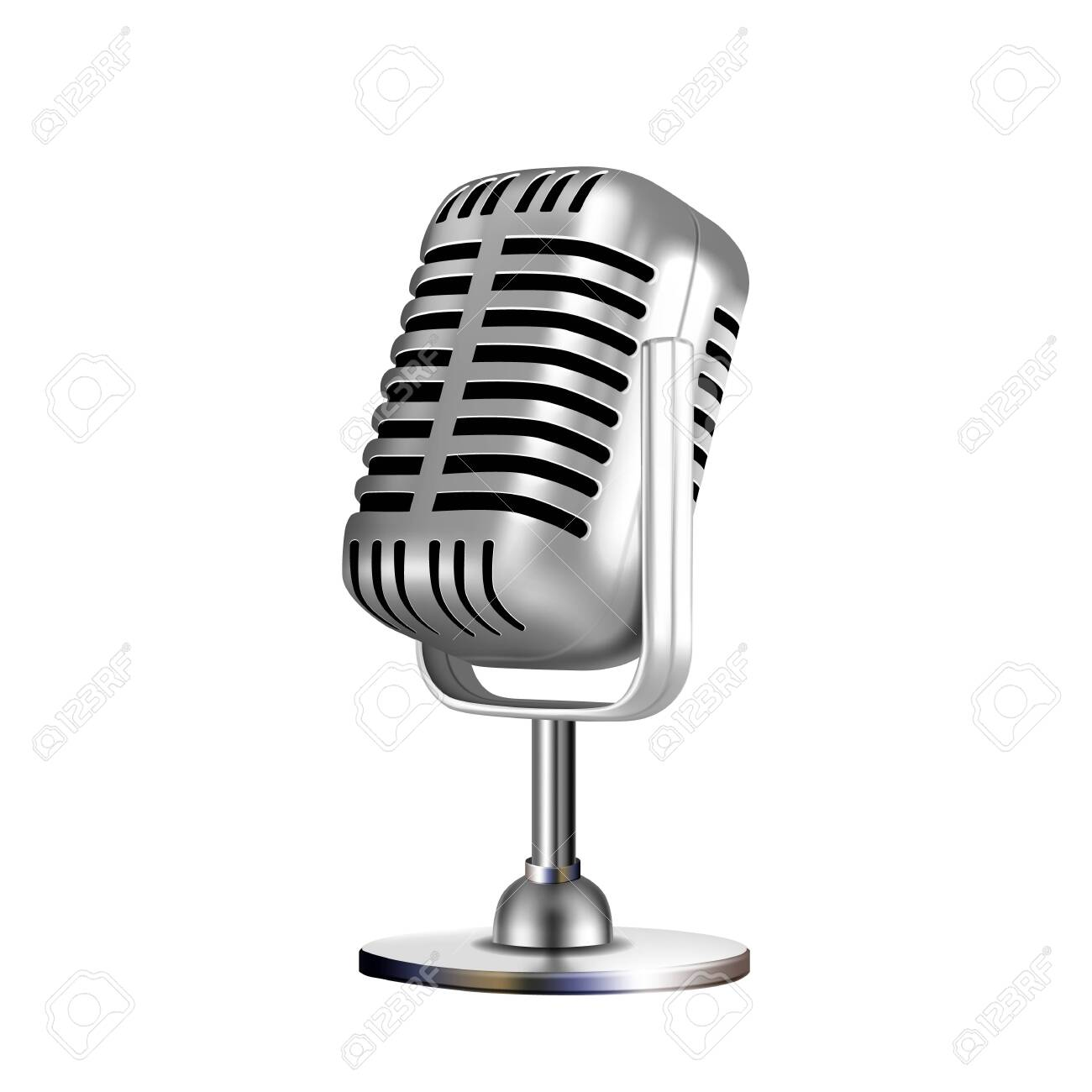 Microphone Retro Vocal Radio Equipment Vector. Audio Microphone For Online Anchorperson Studio Or Karaoke Bar Device. Chrome Silver Color Concept Template Realistic 3d Illustration - 141682828