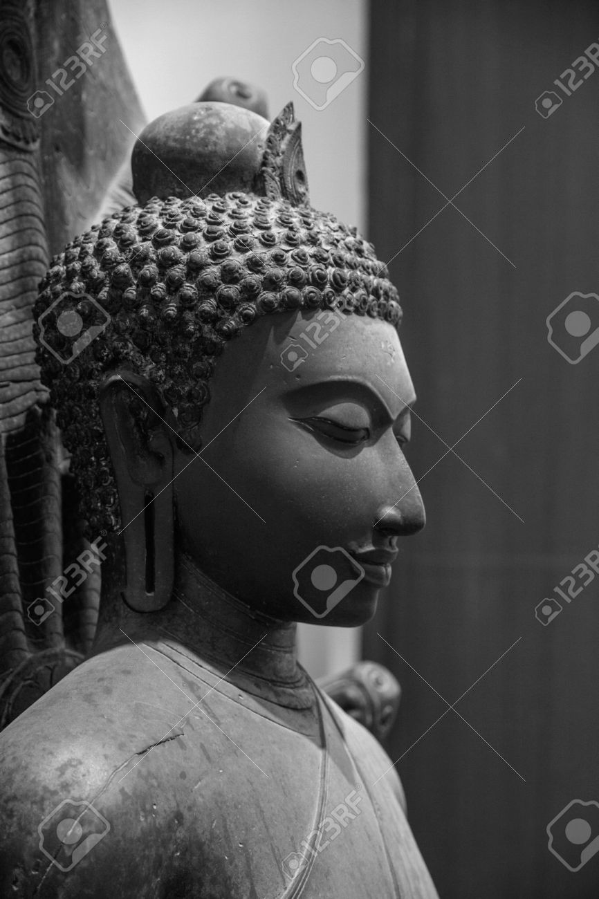 Buddha face in black and white stock photo 24448759