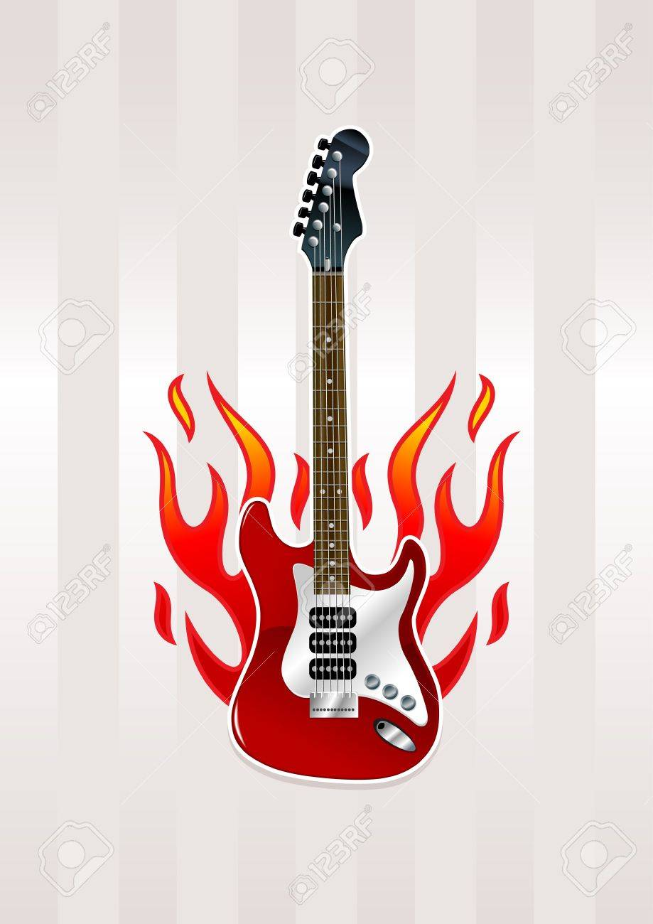 Electric Guitar With Flames Royalty Free Cliparts Vectors And