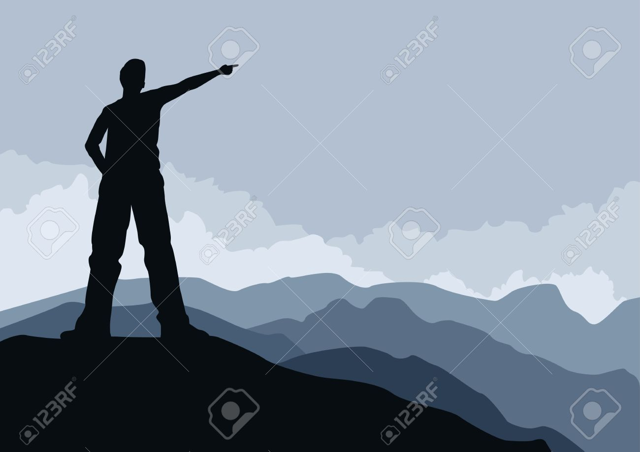 Young man pointing on mountain peak illustration  Elements are layered separately Stock Vector - 18921365