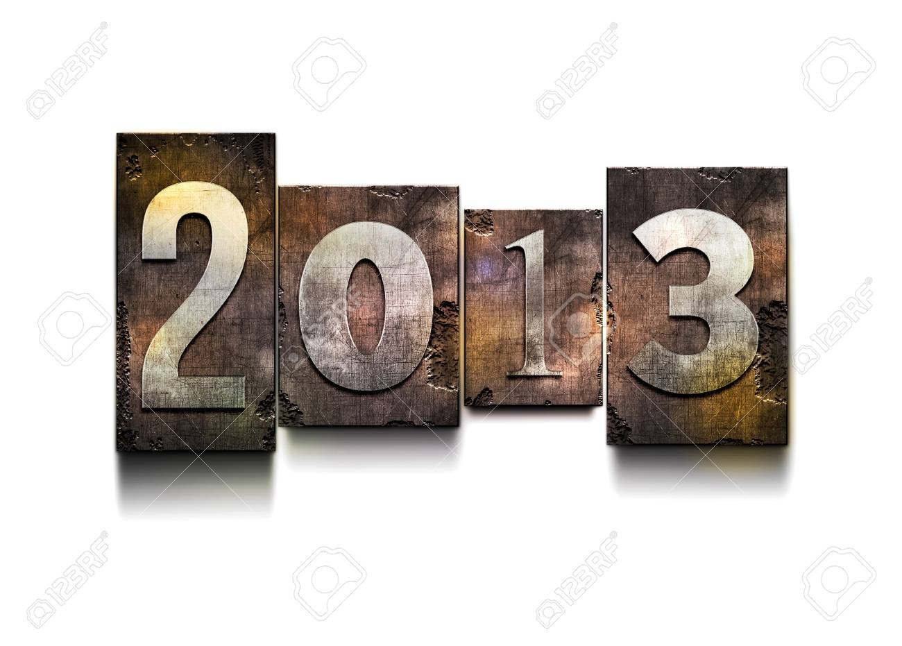The word  2013   Random letterpress type on grunge background Stock Photo - 18996299