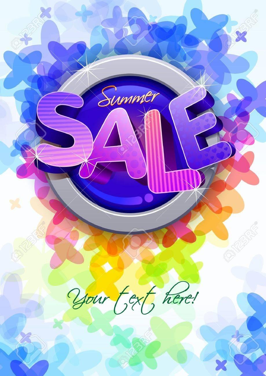 Poster design 3d - 3d Summer Sale Poster Design Template Stock Vector 18994486