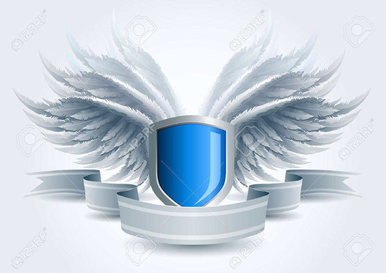 Winged shield banner  Security concept  Elements are layered separately in vector file  Easy editable Stock Vector - 18994598