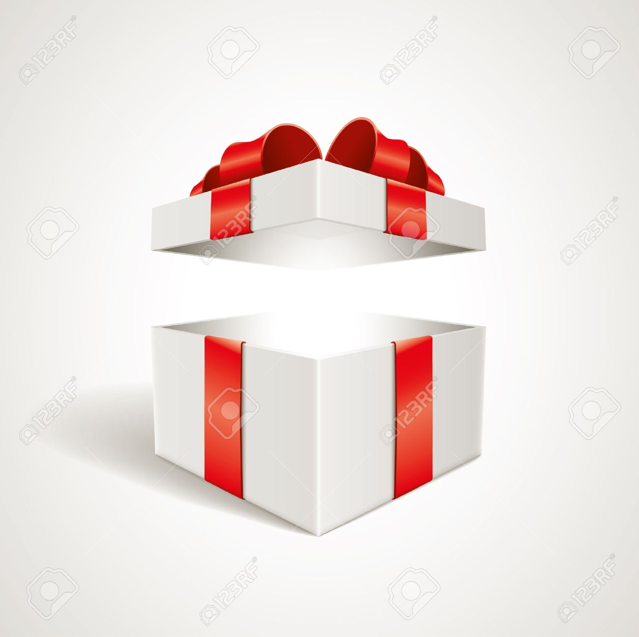 Vector open gift box illustration Elements are layered separately in vector file - 19379540