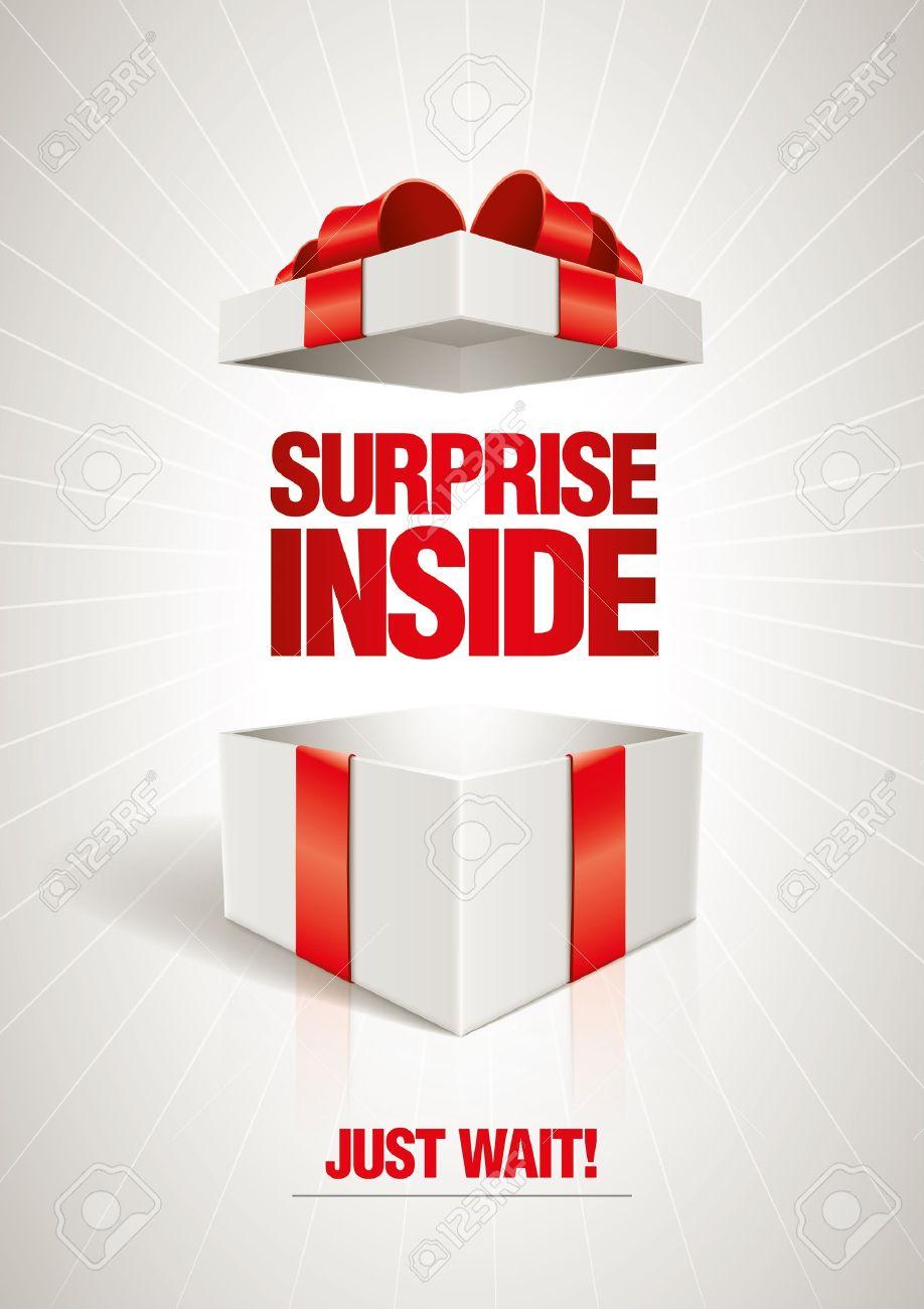 Vector surprise inside open gift box design template royalty free vector vector surprise inside open gift box design template negle Images