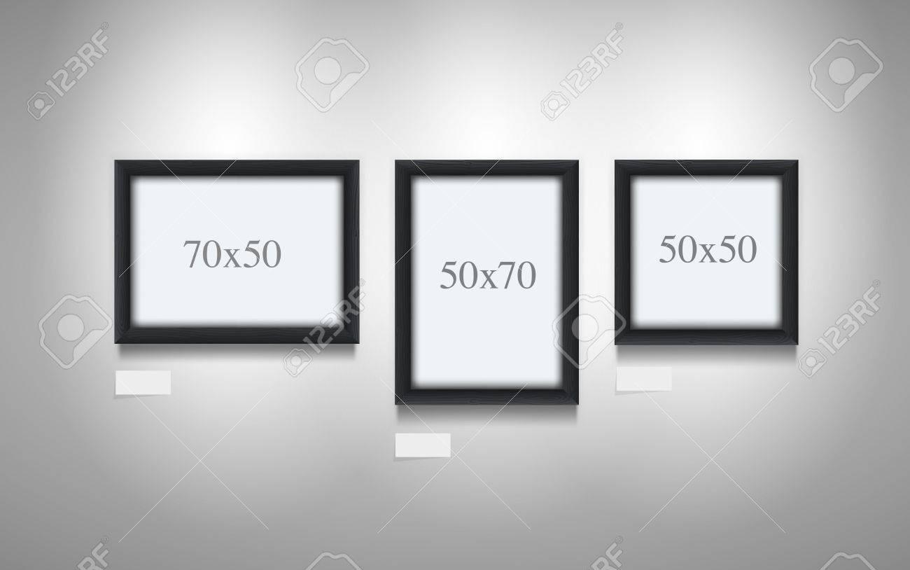 Ilustración Vectorial Realista De Marcos Negros De Madera 7x5, 5x7 ...