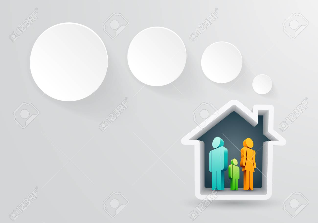 Vector illustraton of real estate themed house with family Stock Vector - 21037313