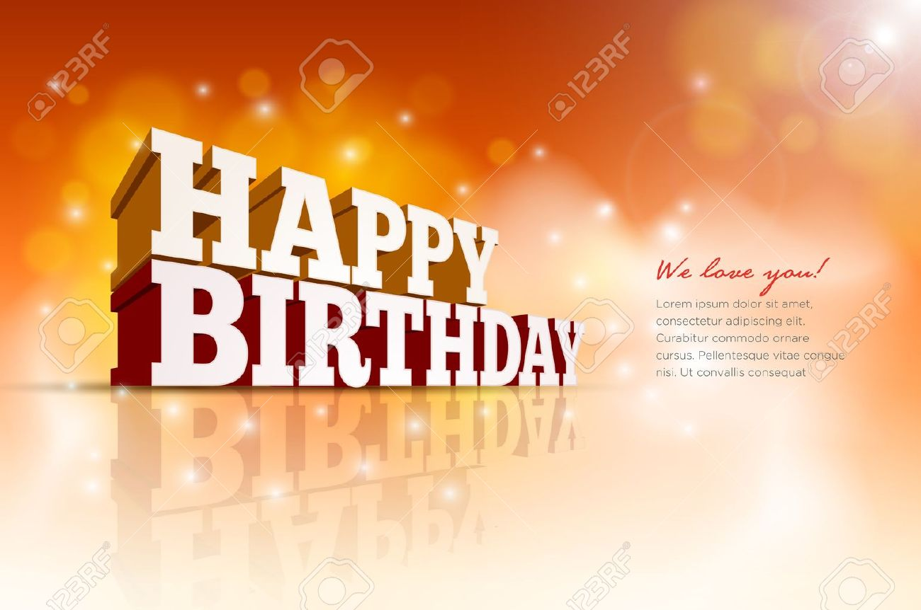 Vector 3d Happy Birthday message text - 22095690