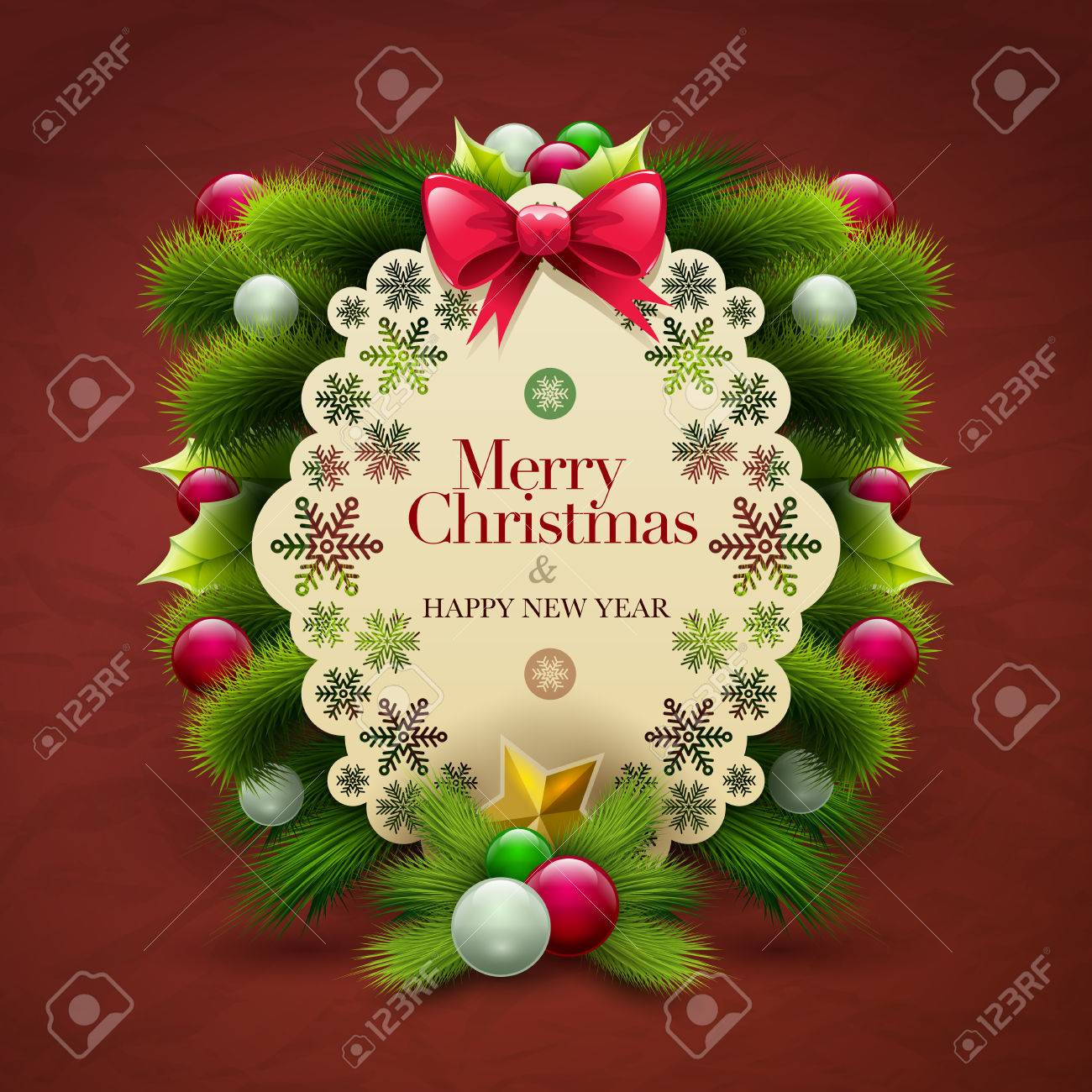 Christmas Invitation Message Card With Ornaments Vector Design