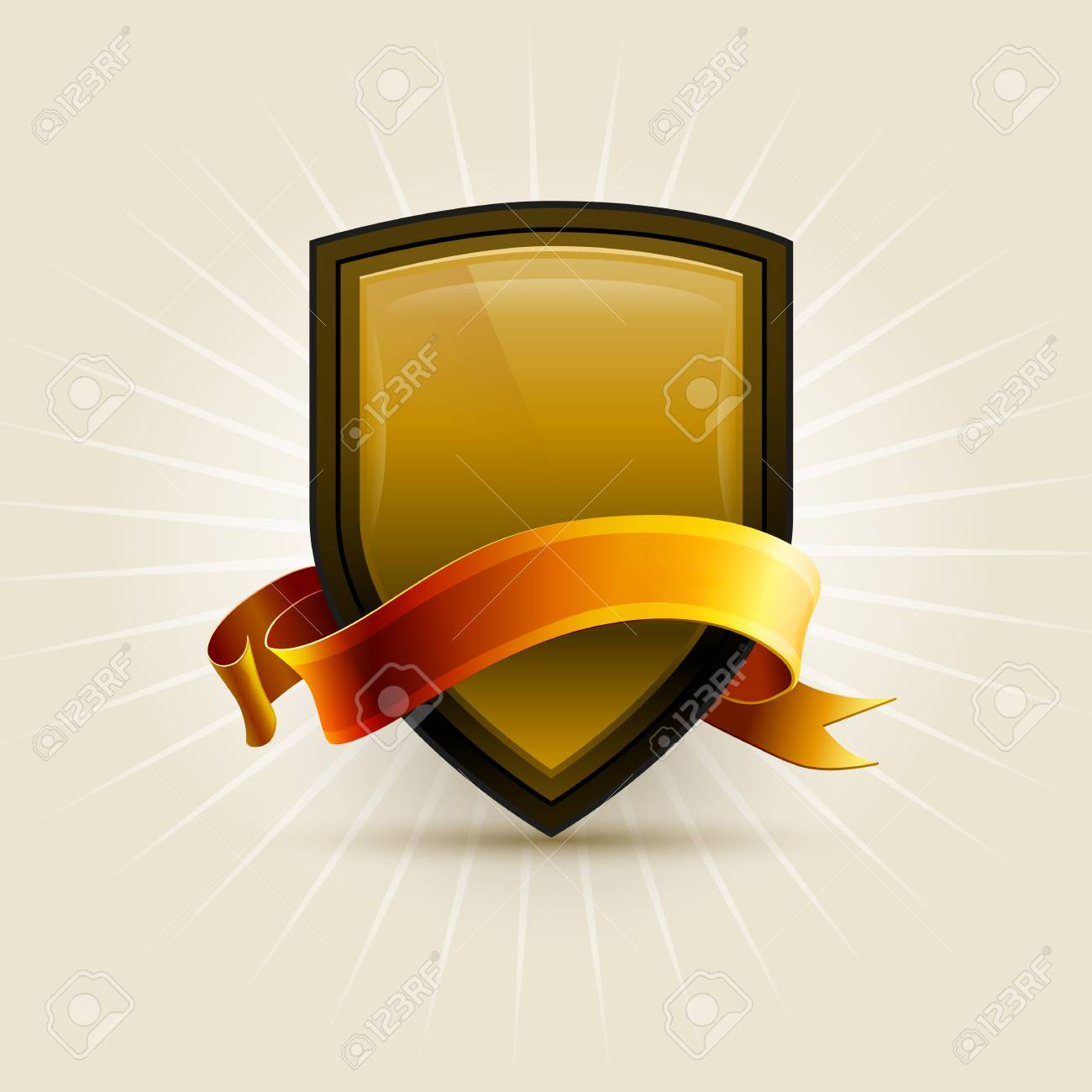 Gold and black shield with ribbon  Elements are layered separately in vector file Stock Vector - 24231145